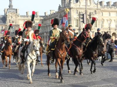 Défilé de chevaux à Paris pour le lancement du Salon du Cheval